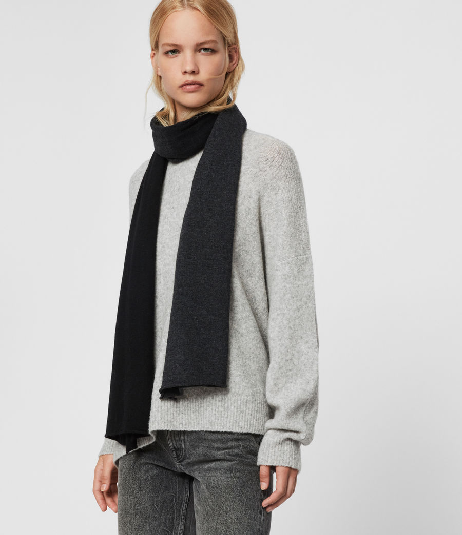 Womens Dip Dye Cashmere Blend Scarf (charcoal_black) - Image 2