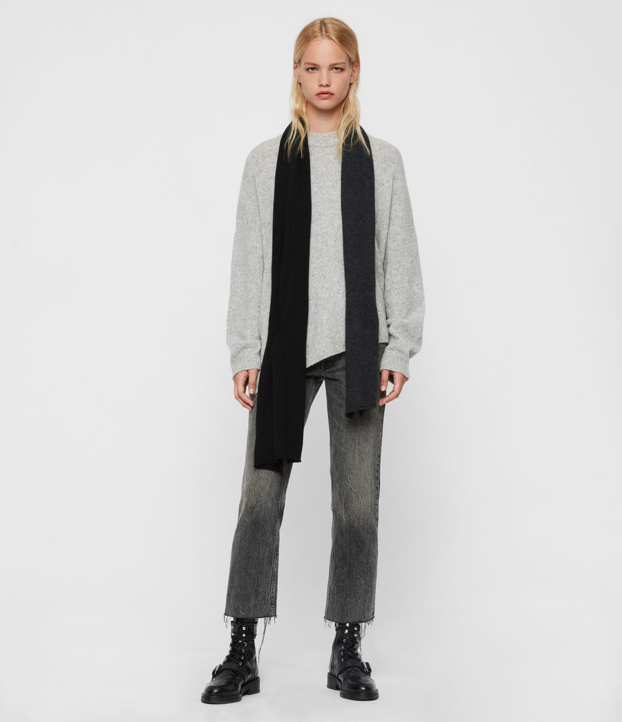Womens Dip Dye Cashmere Blend Scarf (charcoal_black) - Image 3