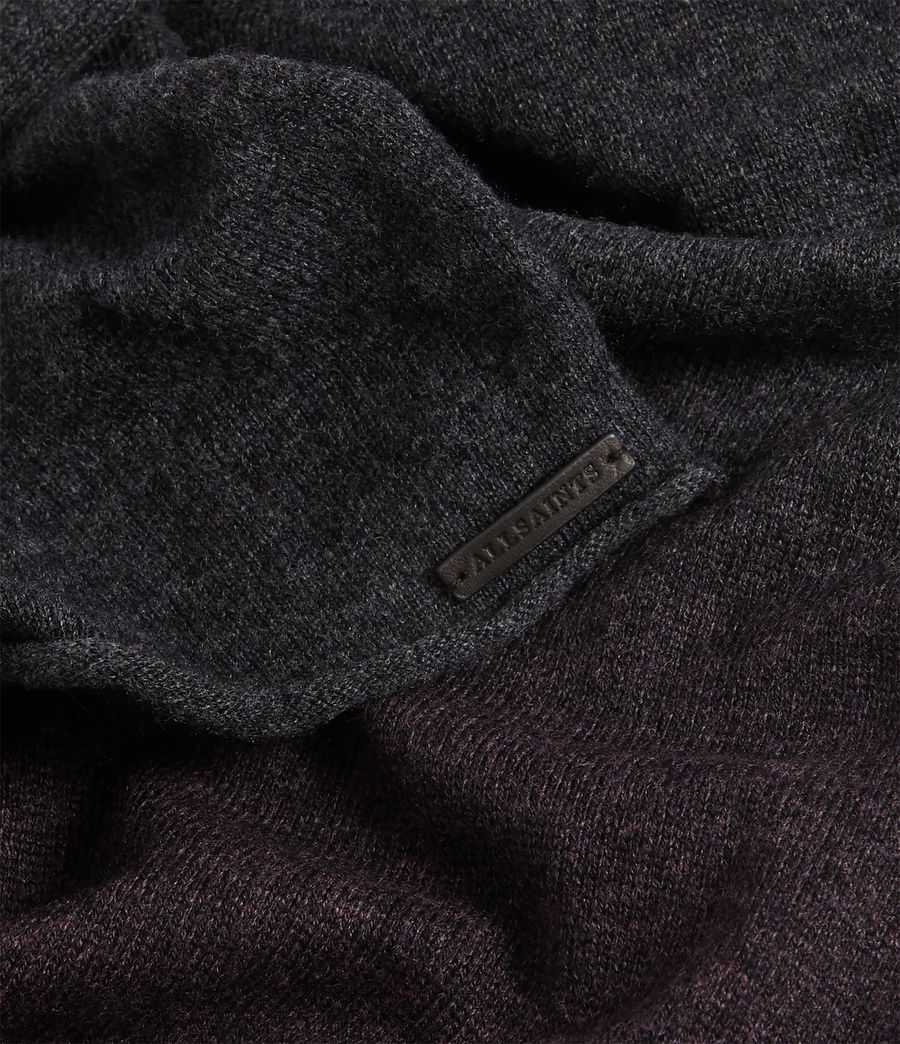 Women's Dip Dye Cashmere Blend Scarf (charcoal_port) - Image 3