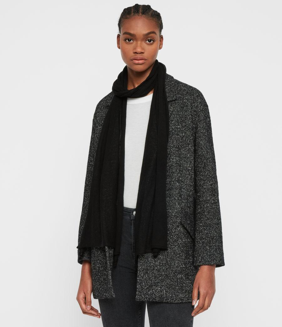 Women's Fine Gauge Wool Scarf (black) - Image 2