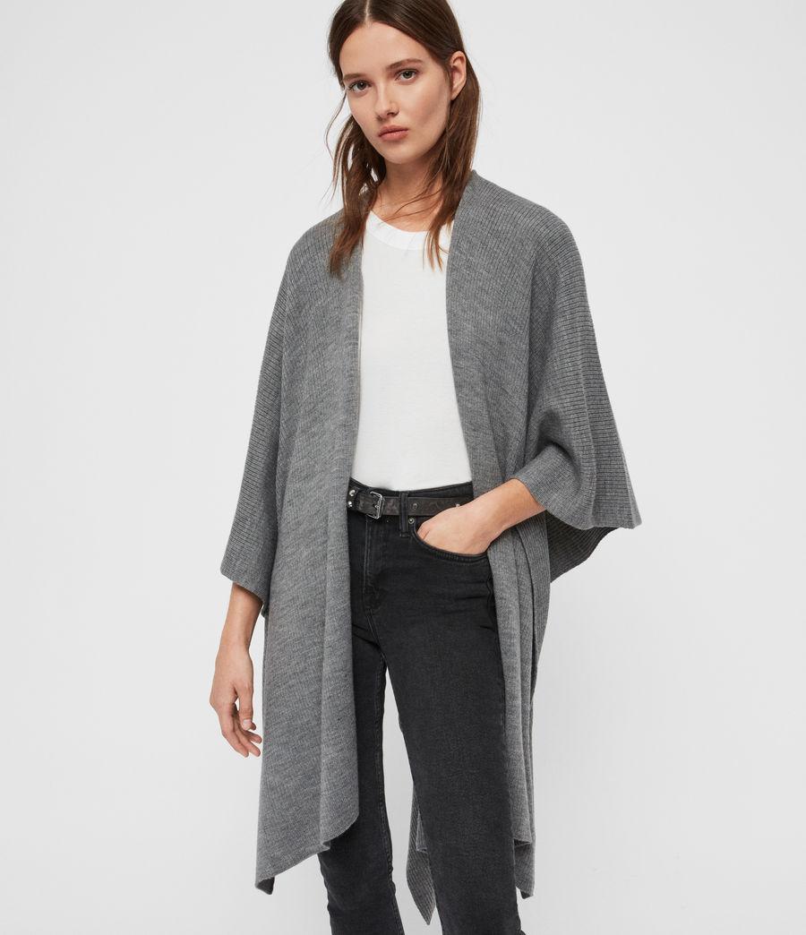 Womens Rib Tie Ruana Wool Blend Scarf (grey_marl) - Image 1