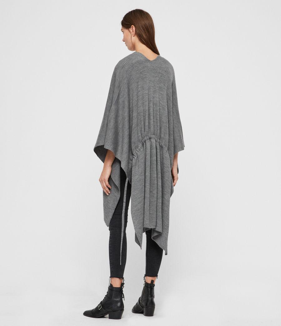 Womens Rib Tie Ruana Wool Blend Scarf (grey_marl) - Image 2