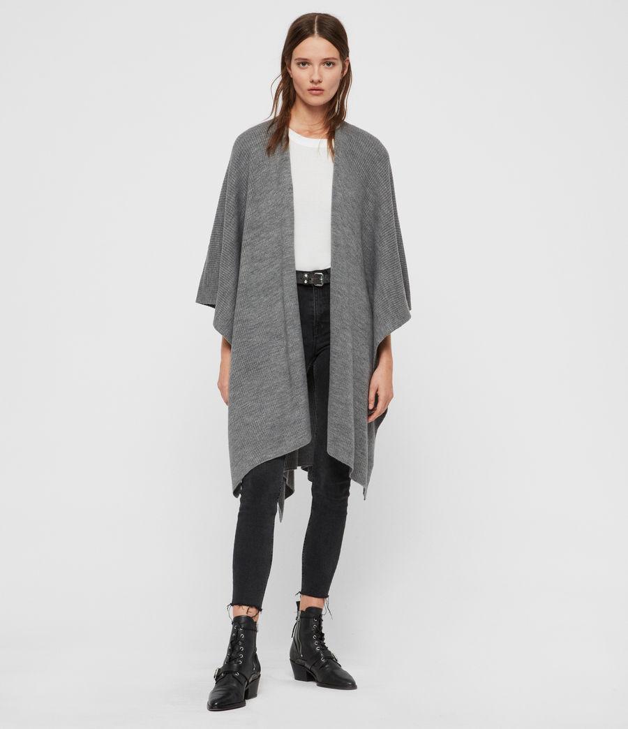 Womens Rib Tie Ruana Wool Blend Scarf (grey_marl) - Image 3