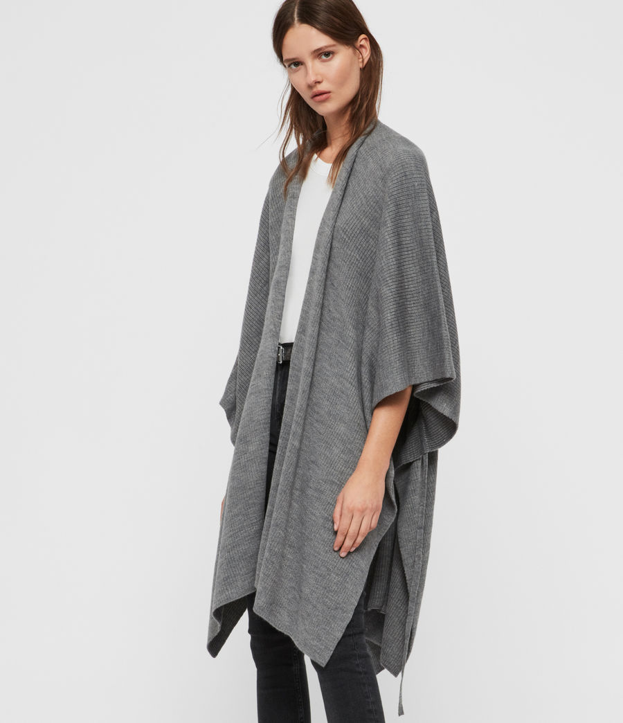 Womens Rib Tie Ruana Wool Blend Scarf (grey_marl) - Image 4