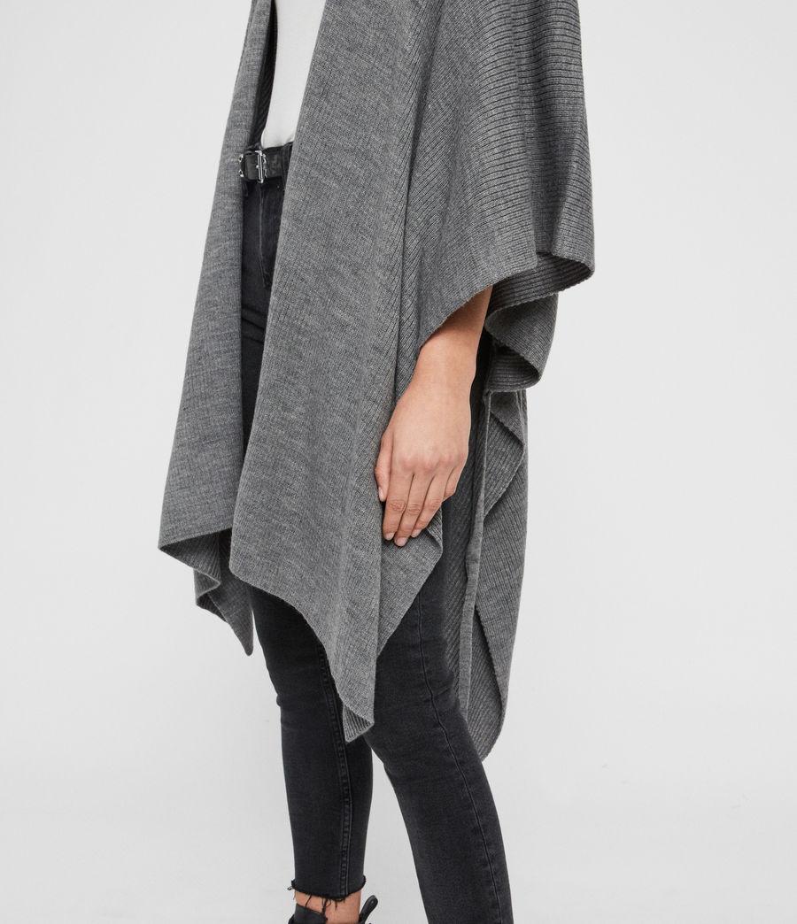 Womens Rib Tie Ruana Wool Blend Scarf (grey_marl) - Image 5