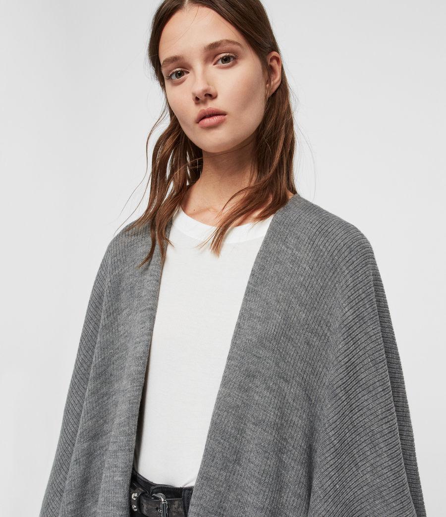 Womens Rib Tie Ruana Wool Blend Scarf (grey_marl) - Image 6