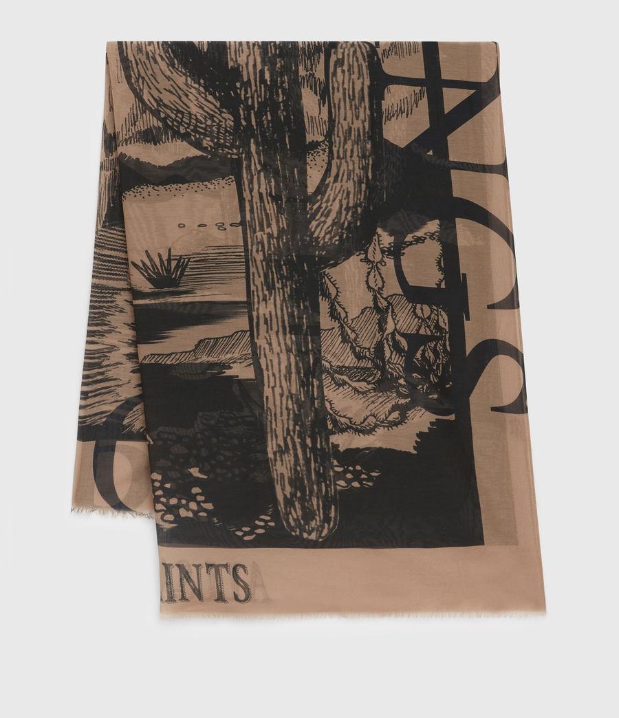 Womens Cacti Silk Blend Large Scarf (black) - Image 1