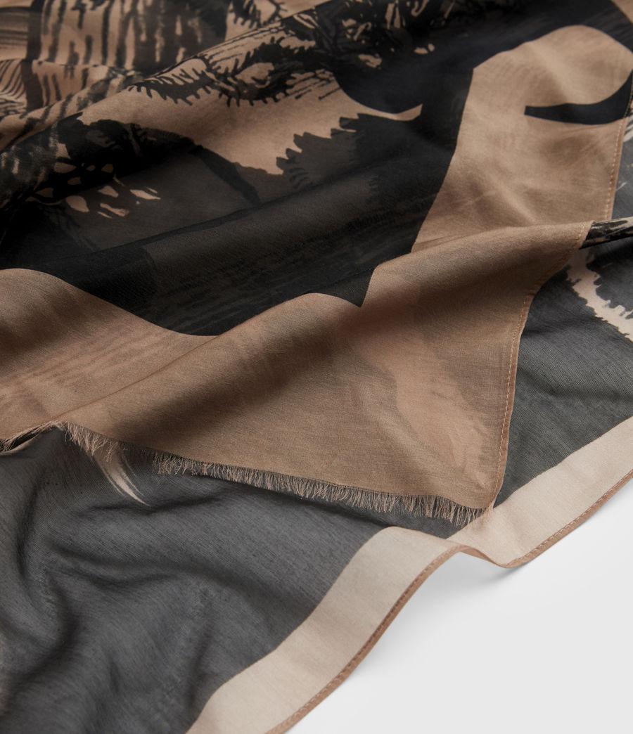 Womens Cacti Silk Blend Large Scarf (black) - Image 2
