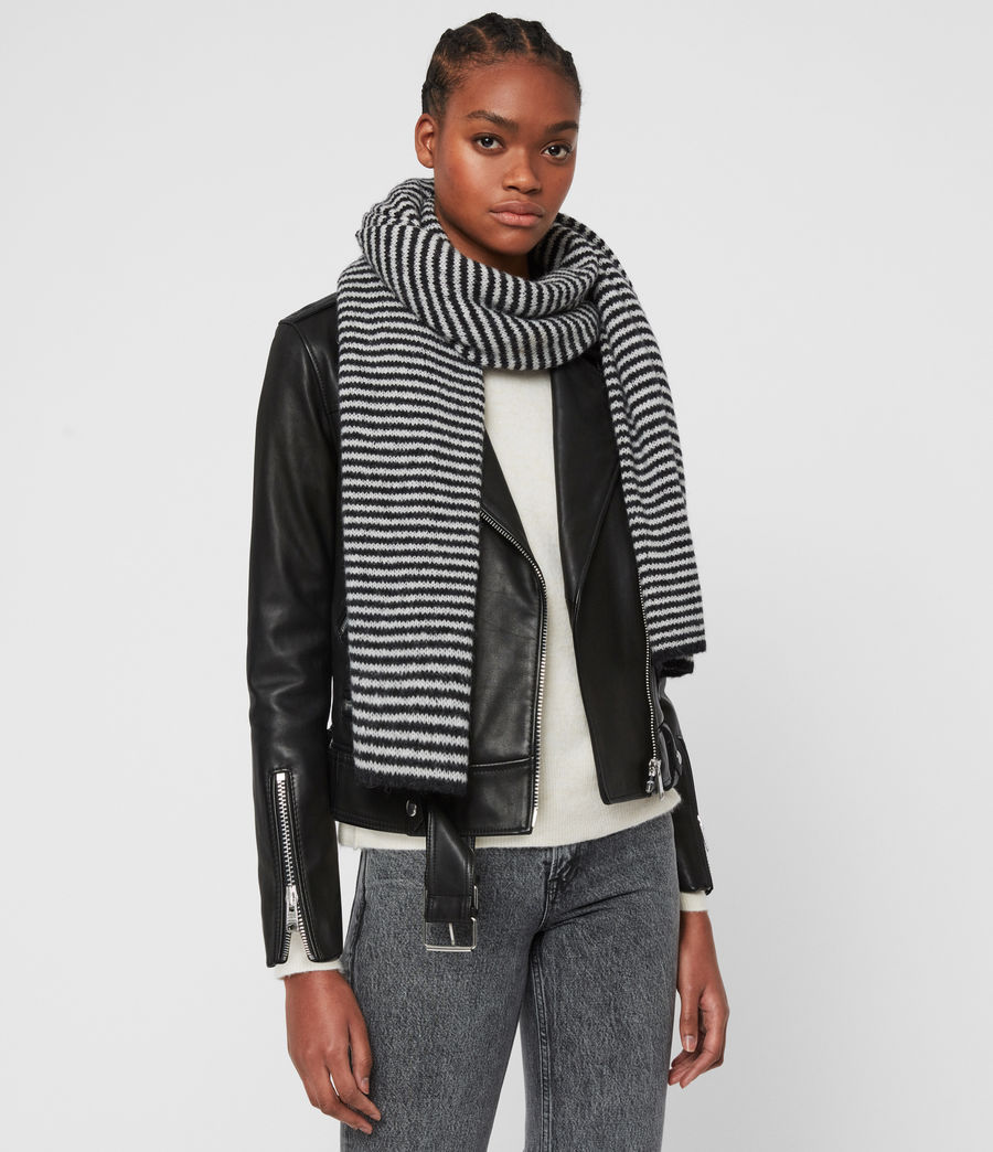 Women's Striped Wool Blend Scarf (black_chalk_white) - Image 1