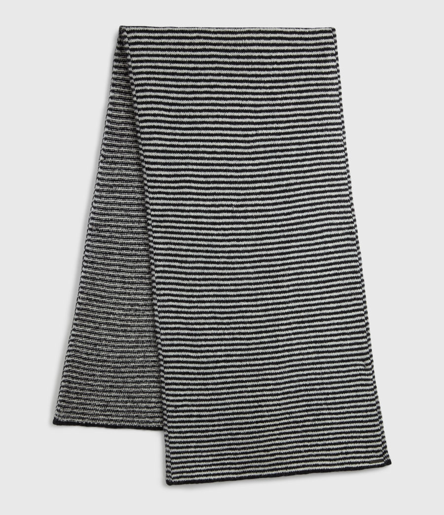 Women's Striped Wool Blend Scarf (black_chalk_white) - Image 2