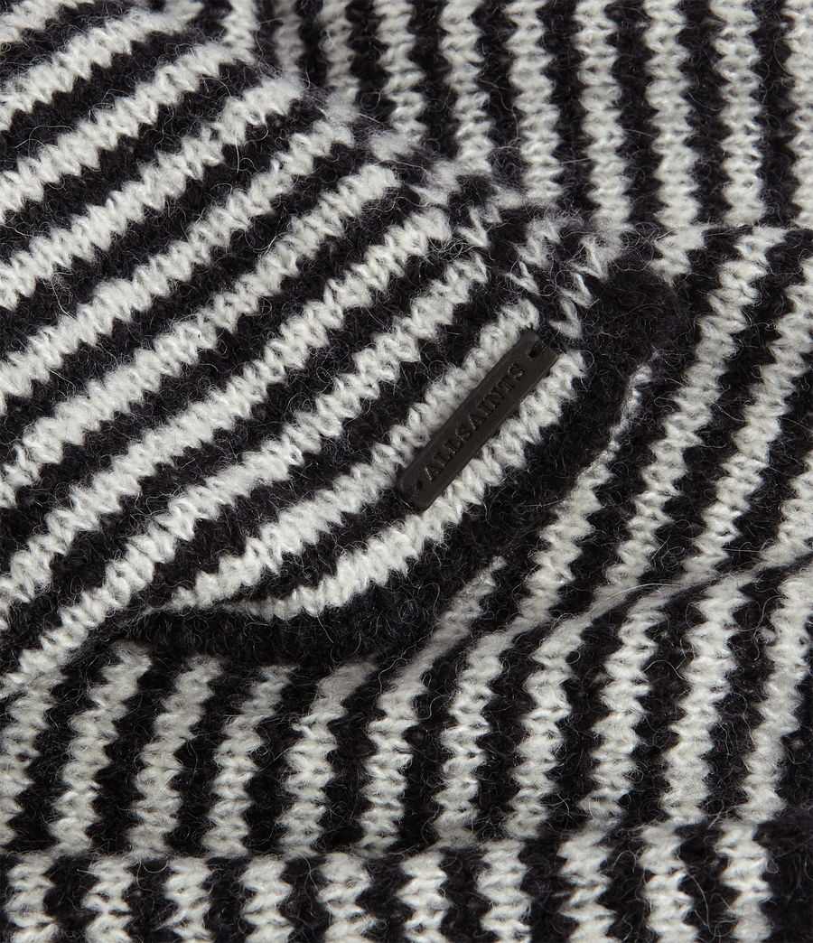 Women's Striped Wool Blend Scarf (black_chalk_white) - Image 3