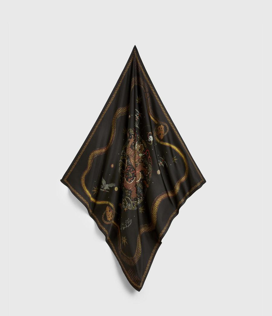 Women's Psychedelia Silk Scarf (black) - Image 1