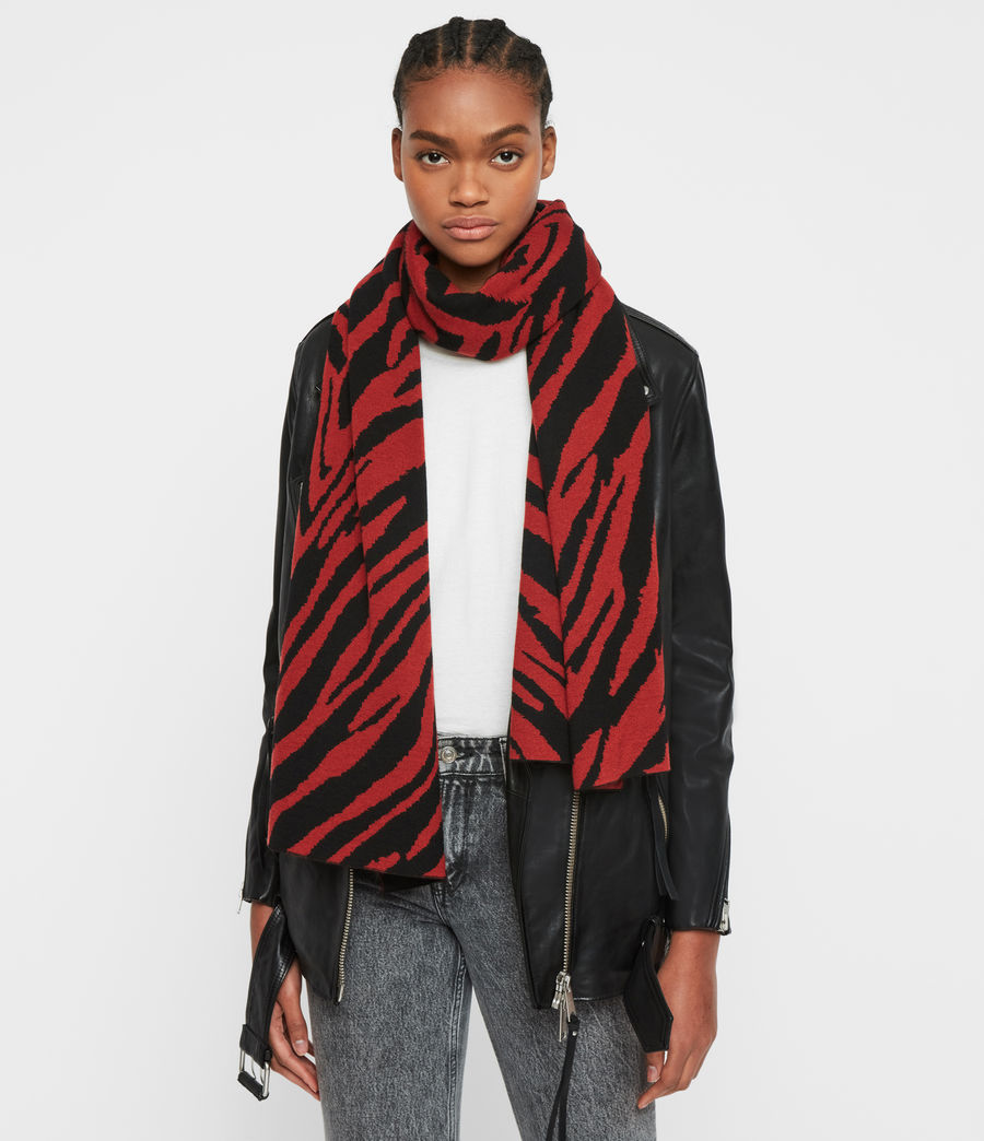 Womens Zebra Jacquard Merino Wool Scarf (black_flame_red) - Image 2