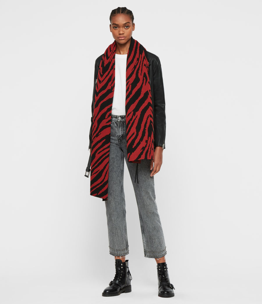 Damen Zebra Jacquard Schal (black_flame_red) - Image 4
