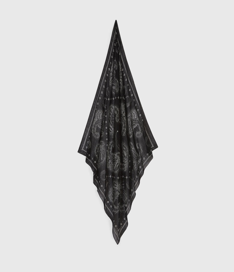 Womens Celeste Square Wool Scarf (black) - Image 1