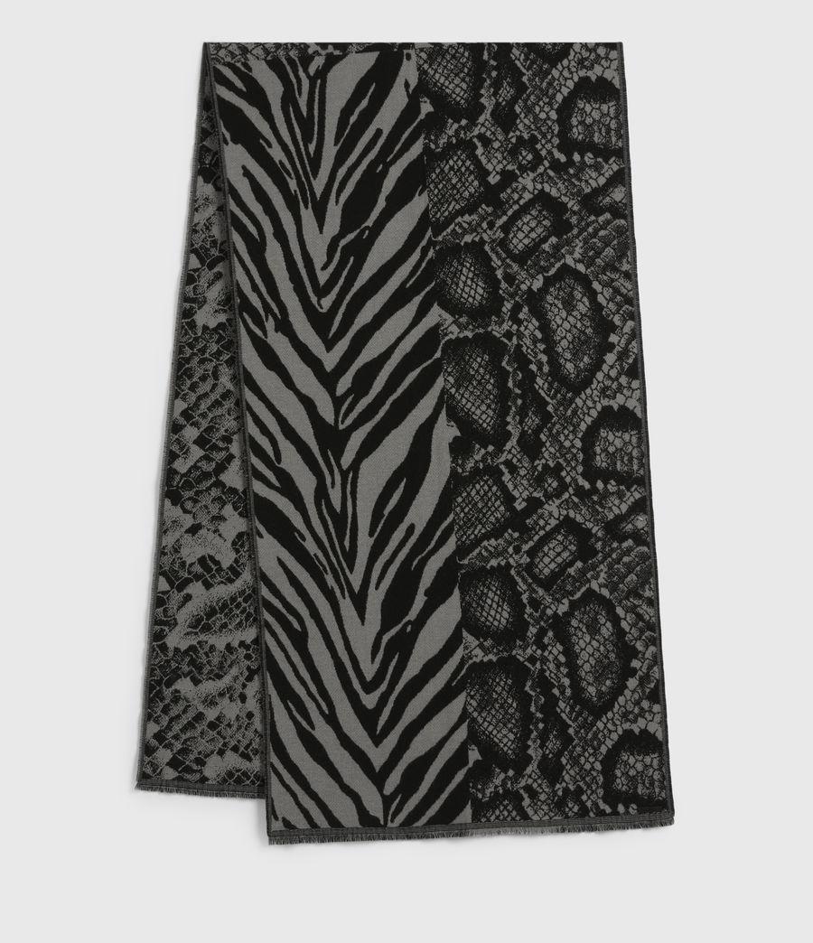 Women's Patchwork Oblong Wool Blend Scarf (black_grey_marl) - Image 1
