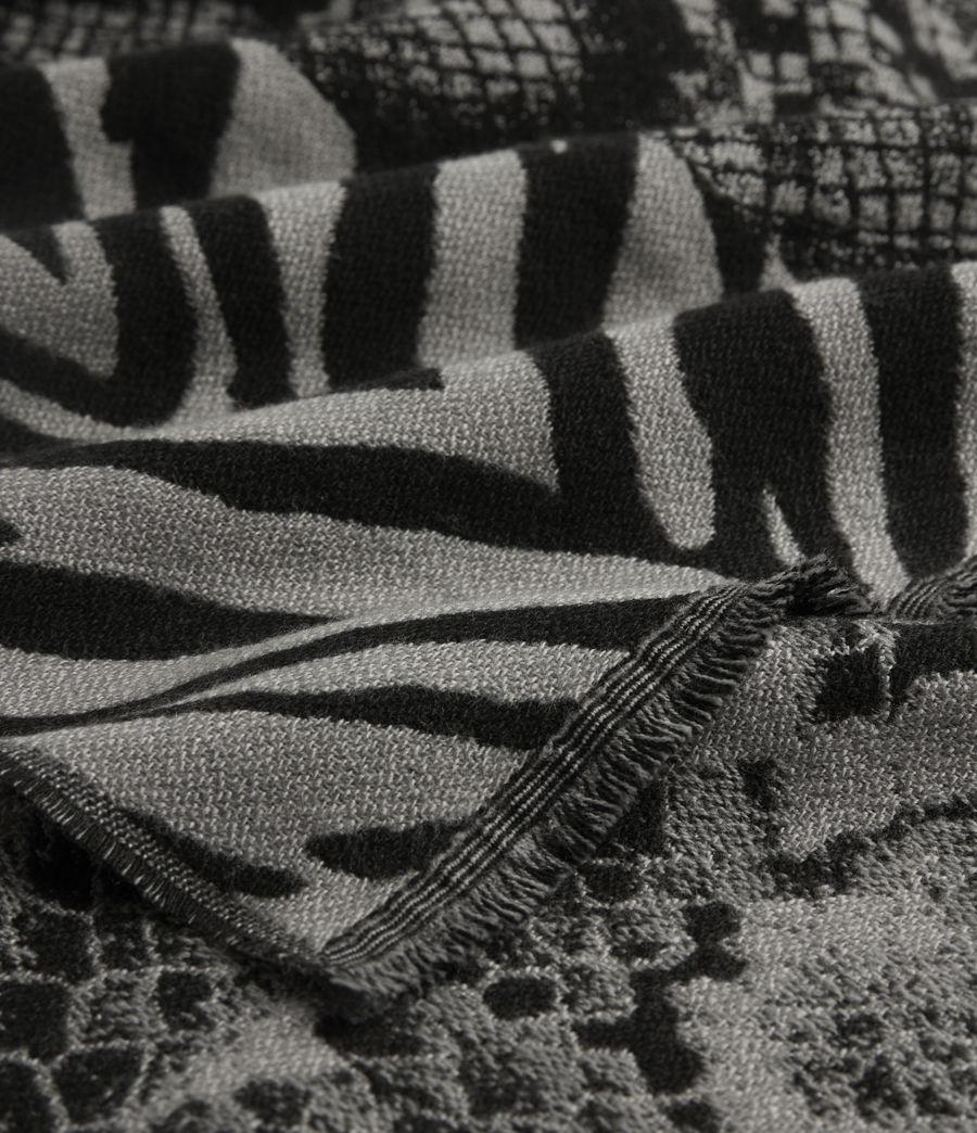Women's Patchwork Oblong Wool Blend Scarf (black_grey_marl) - Image 2