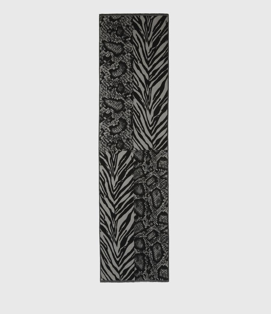 Women's Patchwork Oblong Wool Blend Scarf (black_grey_marl) - Image 3