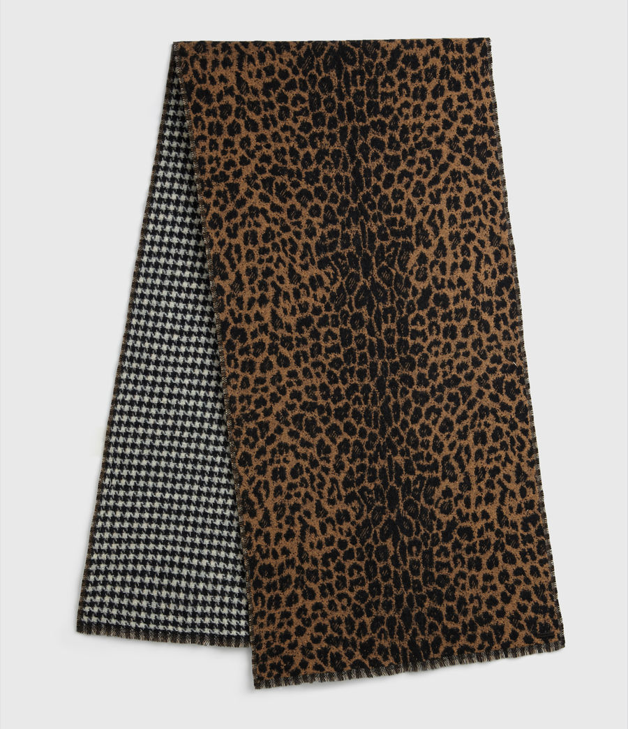 Women's Reversible Leopard Wool Blend Scarf (black) - Image 1