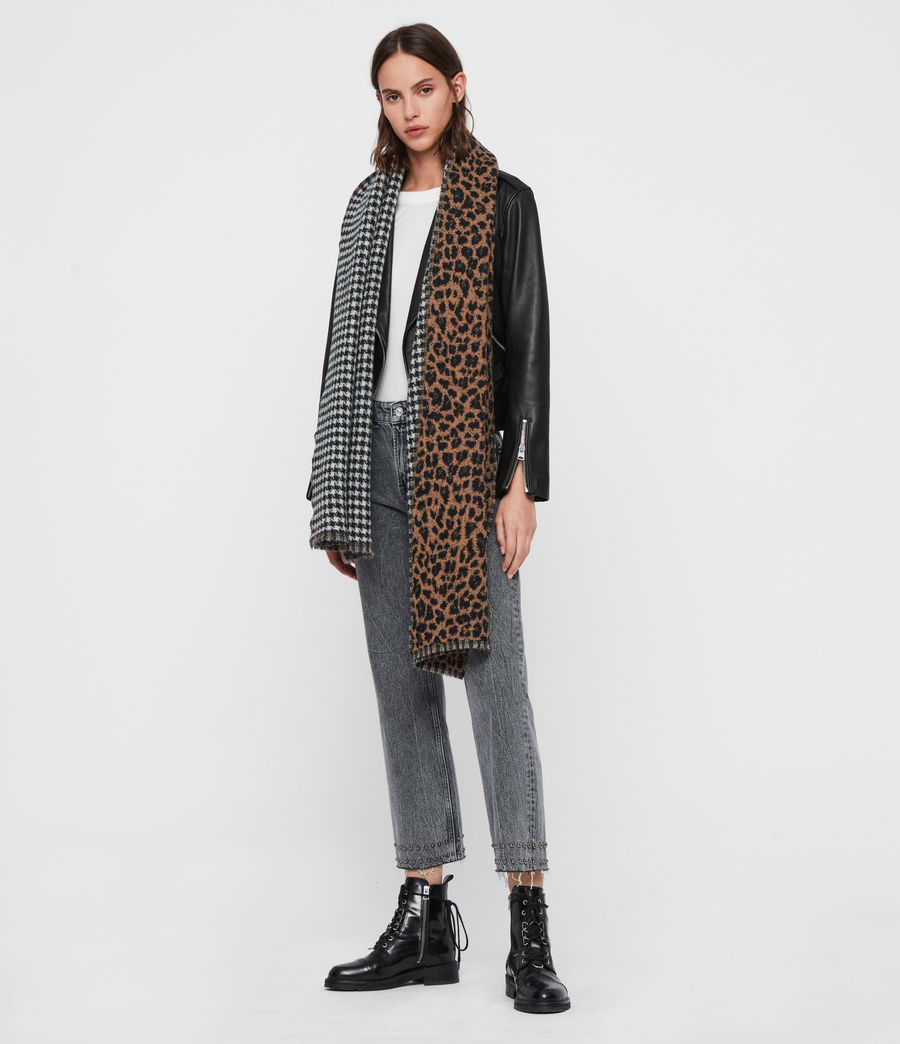 Women's Reversible Leopard Wool Blend Scarf (black) - Image 3