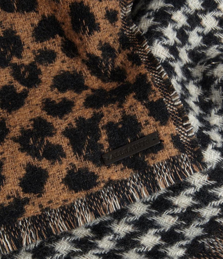 Women's Reversible Leopard Wool Blend Scarf (black) - Image 4
