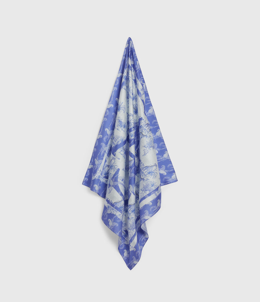 Womens Tajpur Silk Square Scarf (surf_blue) - Image 1