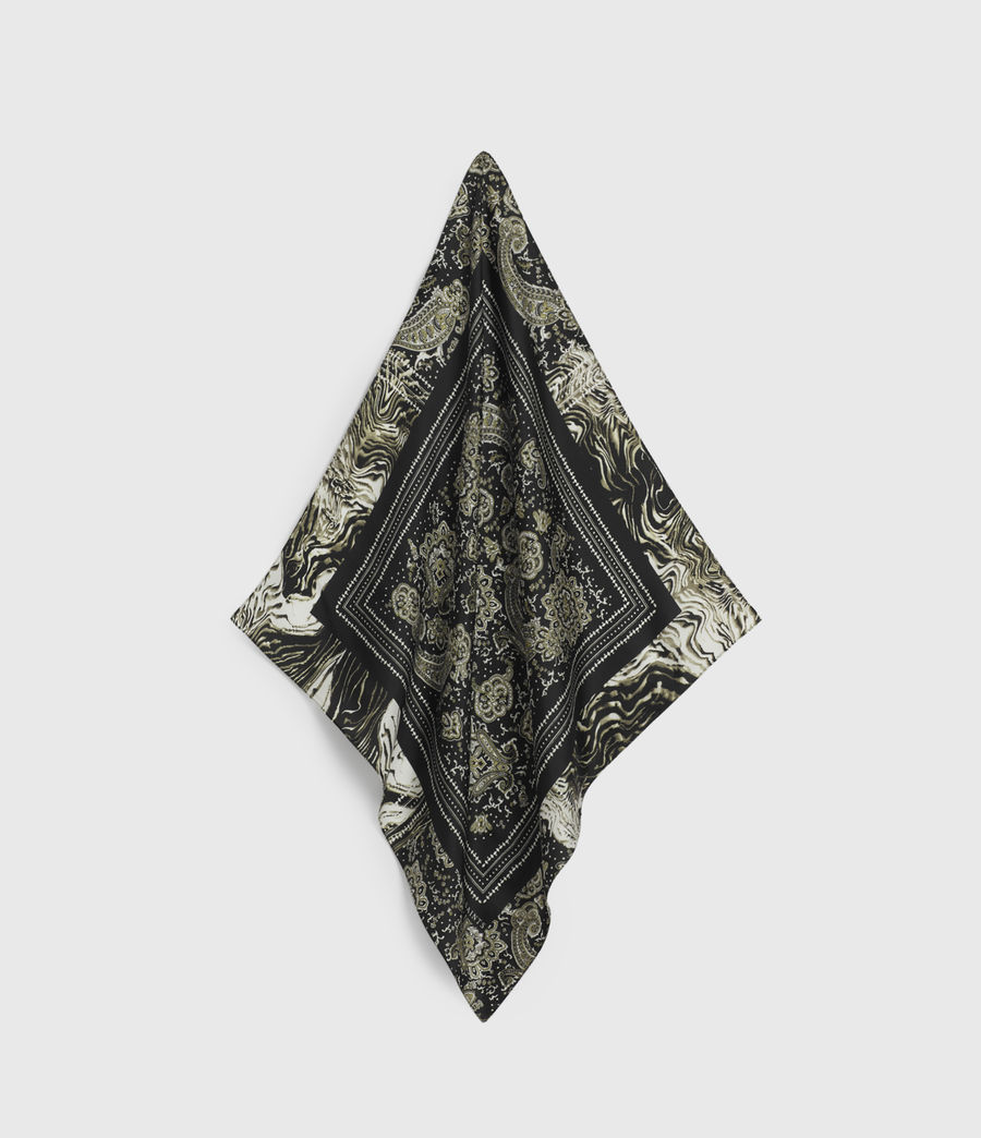 Women's Odisha Square Silk Bandana (black) - Image 1