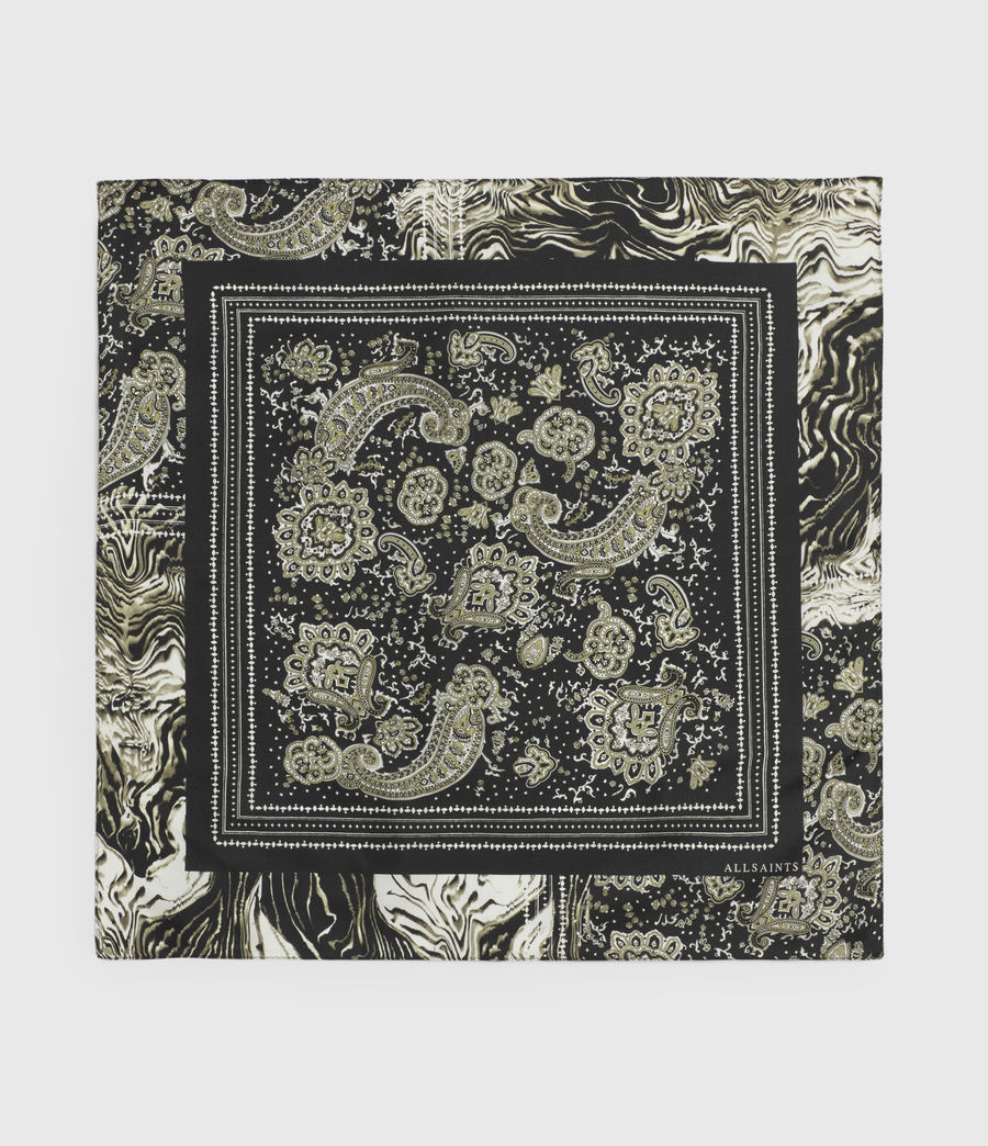 Women's Odisha Square Silk Bandana (black) - Image 2