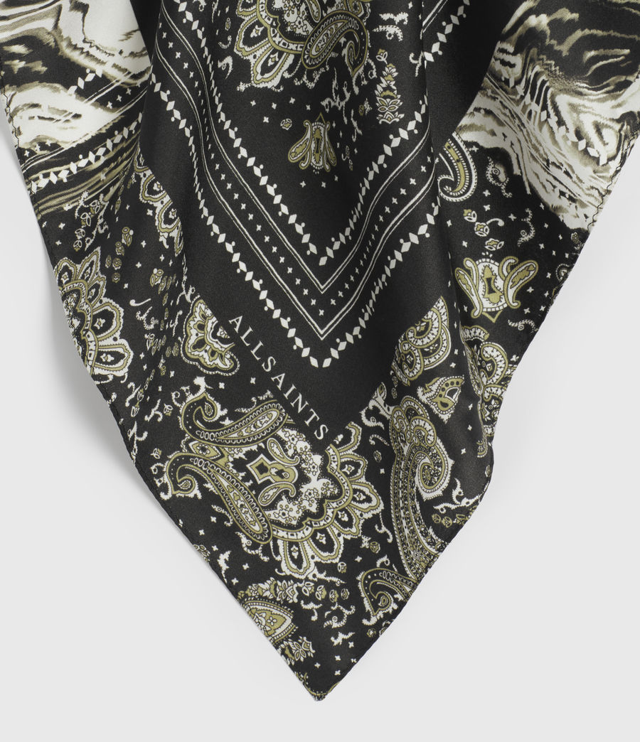 Women's Odisha Square Silk Bandana (black) - Image 3