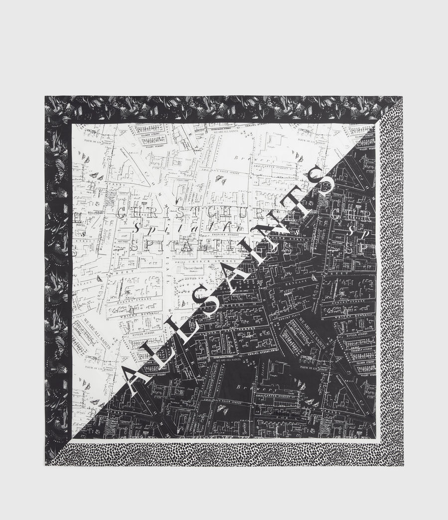 Women's Spitalfields Square Silk Scarf (black) - Image 4