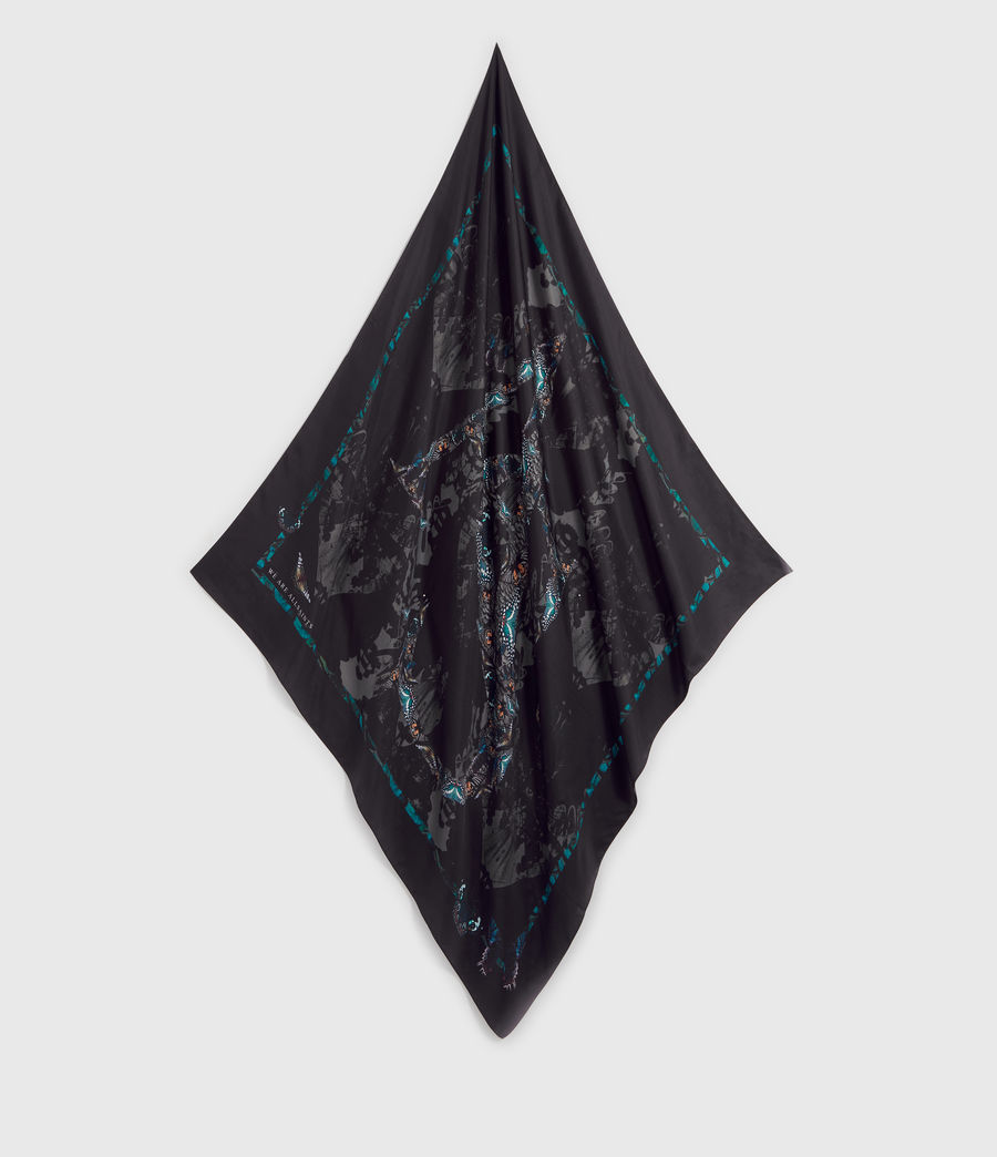 Womens Allofaflutter Large Square Silk Scarf (black) - Image 1