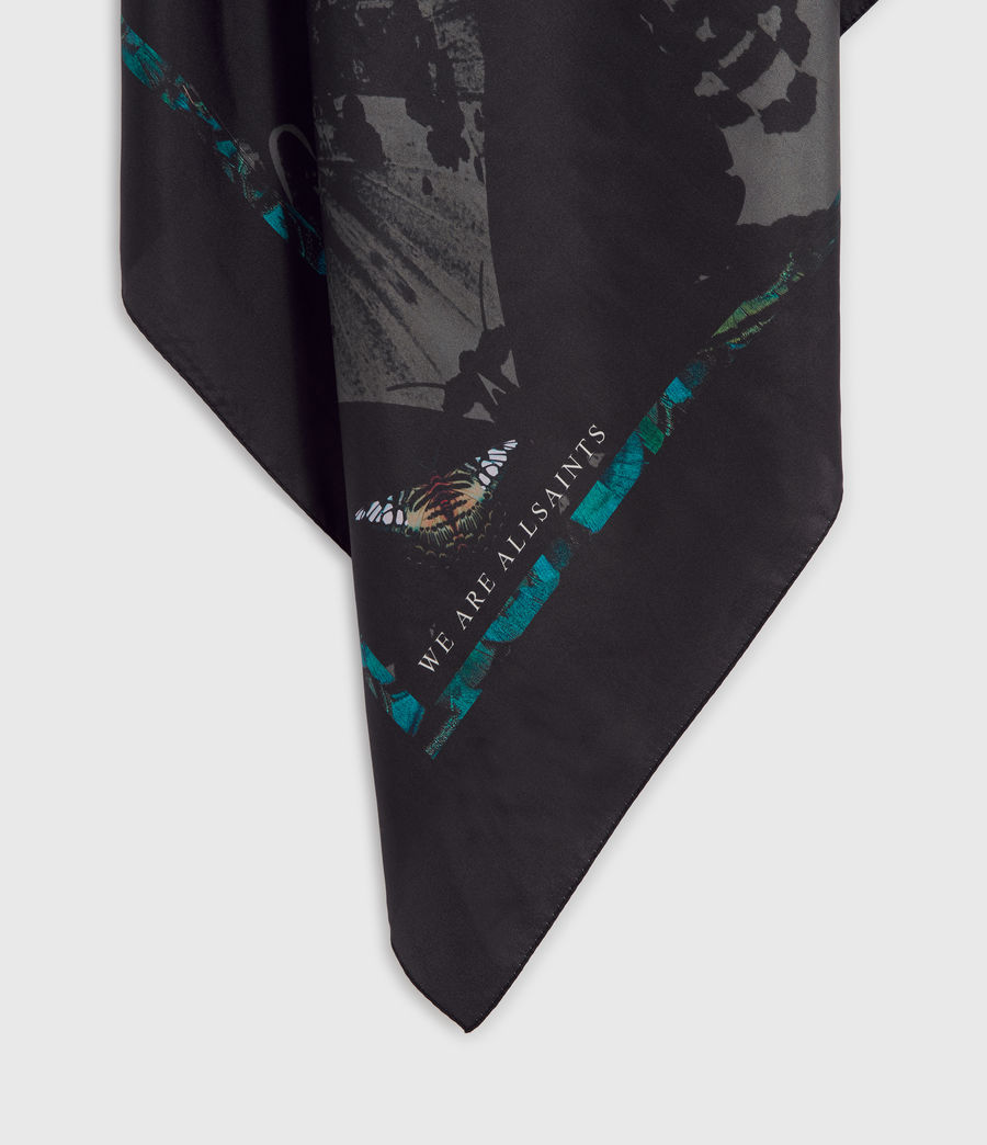 Womens Allofaflutter Large Square Silk Scarf (black) - Image 5