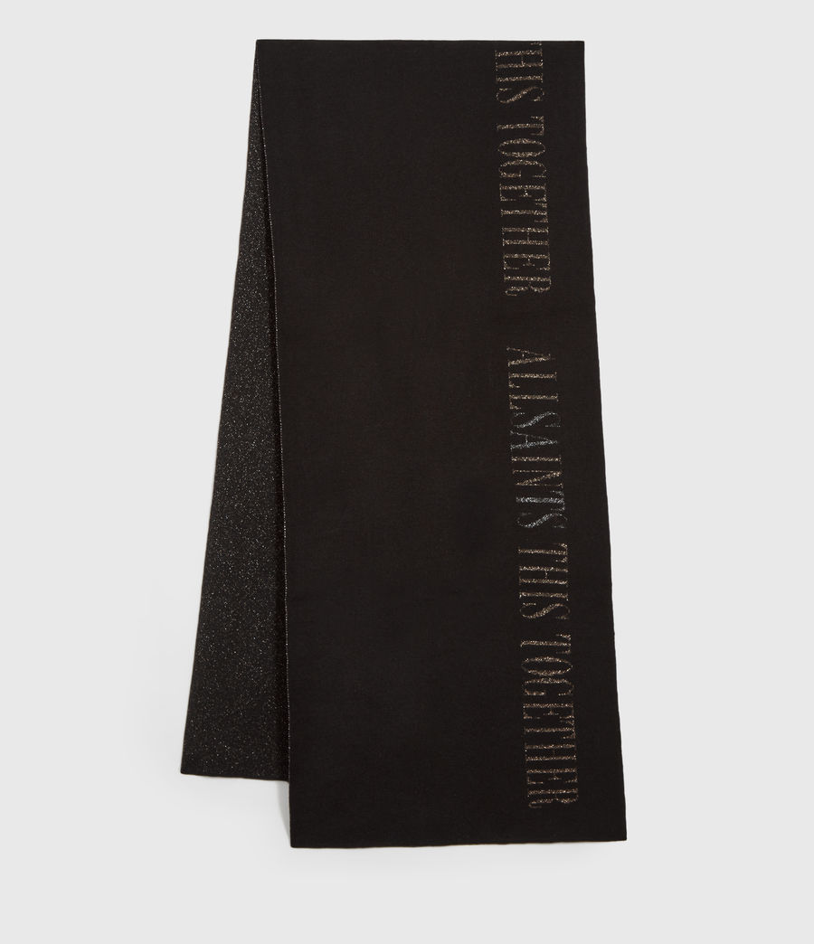 Damen Lurex Together Wool Blend Scarf (black) - Image 1