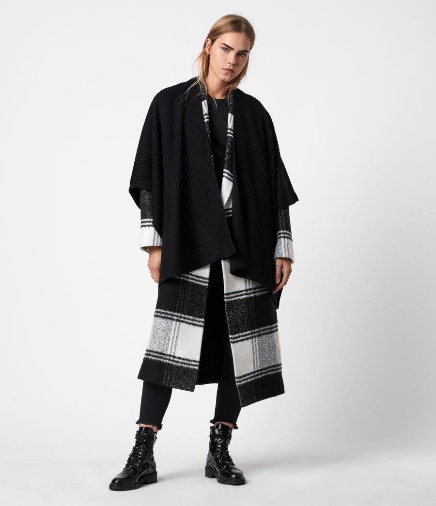 Womens Jora Rib Ruana Wool Blend Scarf (black) - Image 1