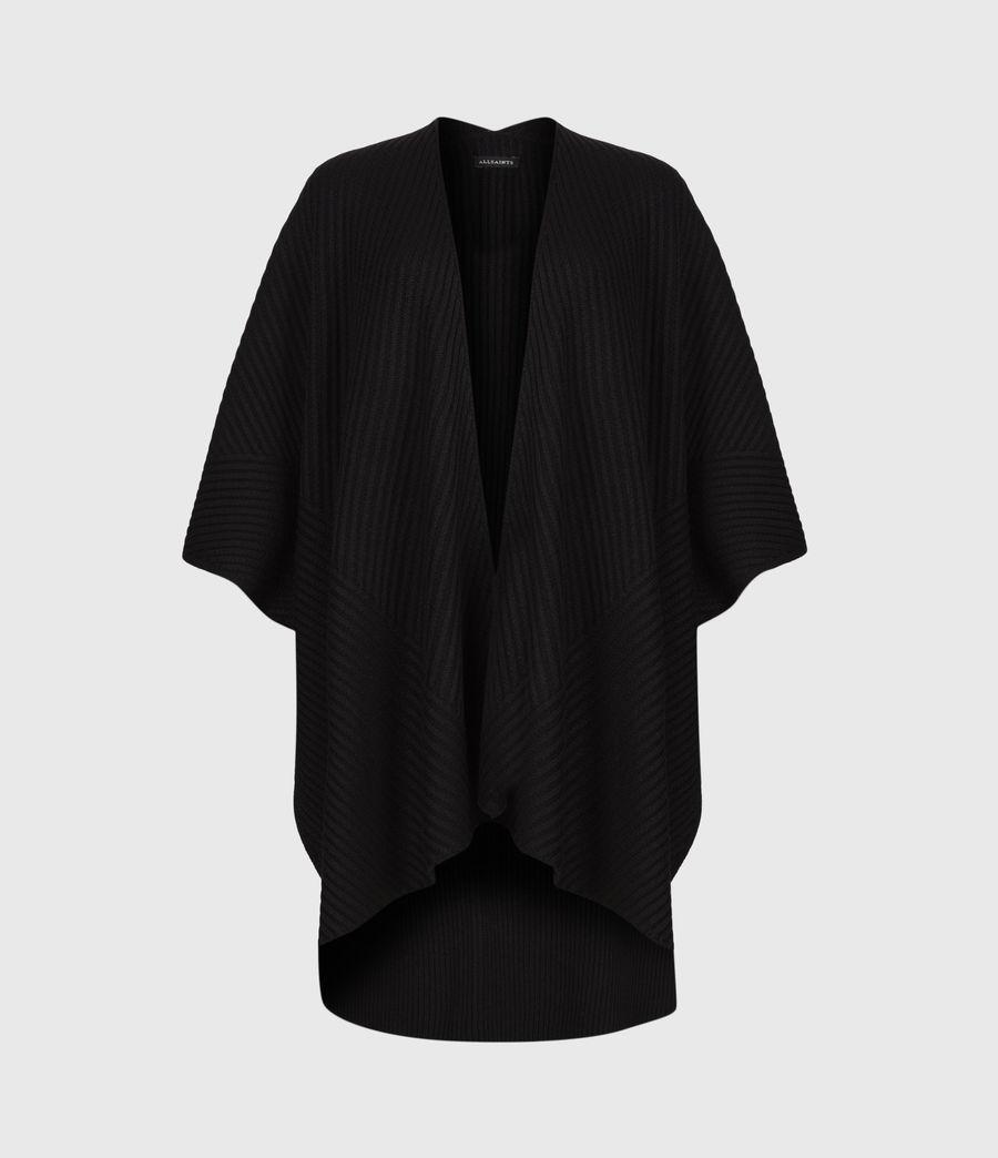 Womens Jora Rib Ruana Wool Blend Scarf (black) - Image 2