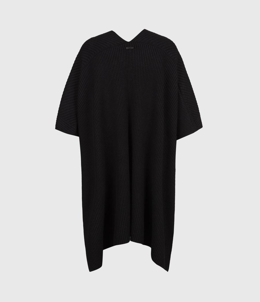 Womens Jora Rib Ruana Wool Blend Scarf (black) - Image 3