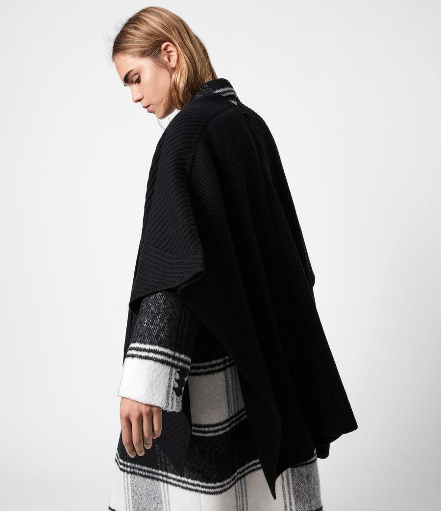 Womens Jora Rib Ruana Wool Blend Scarf (black) - Image 4