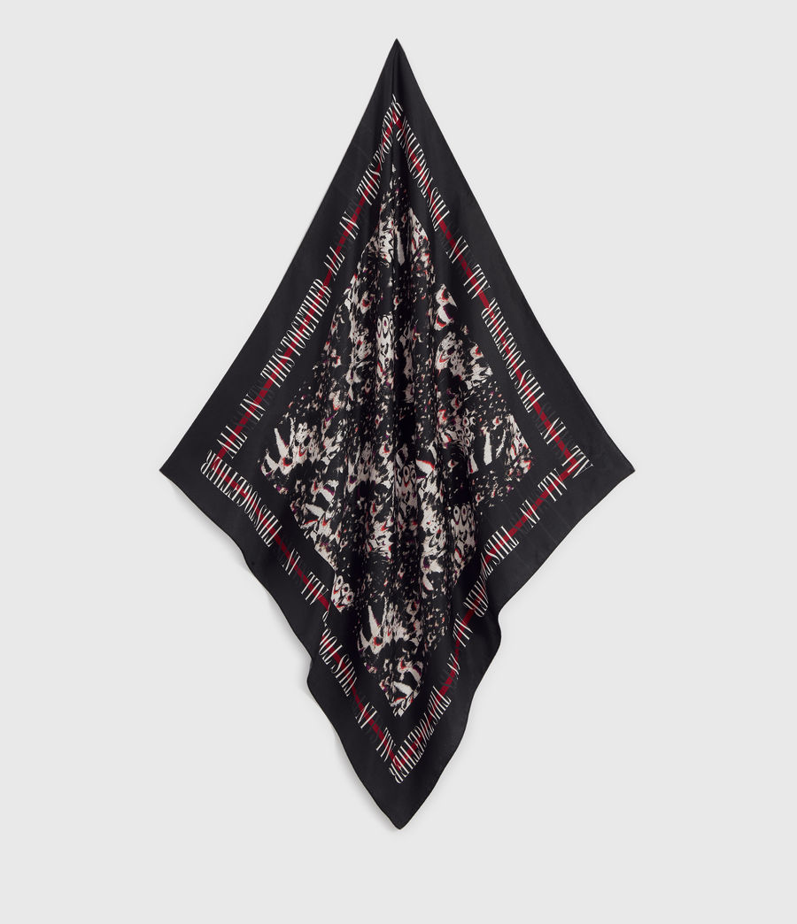 Womens Allinthis Large Square Silk Scarf (black) - Image 1