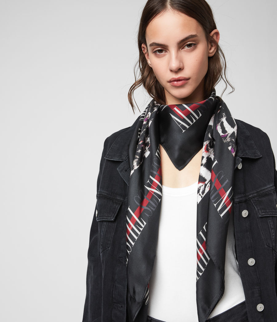 Womens Allinthis Large Square Silk Scarf (black) - Image 3