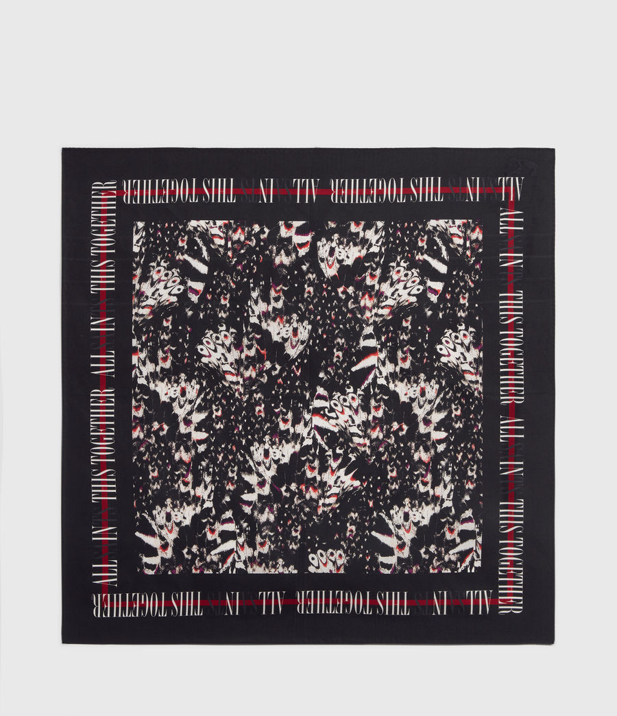 Womens Allinthis Large Square Silk Scarf (black) - Image 6