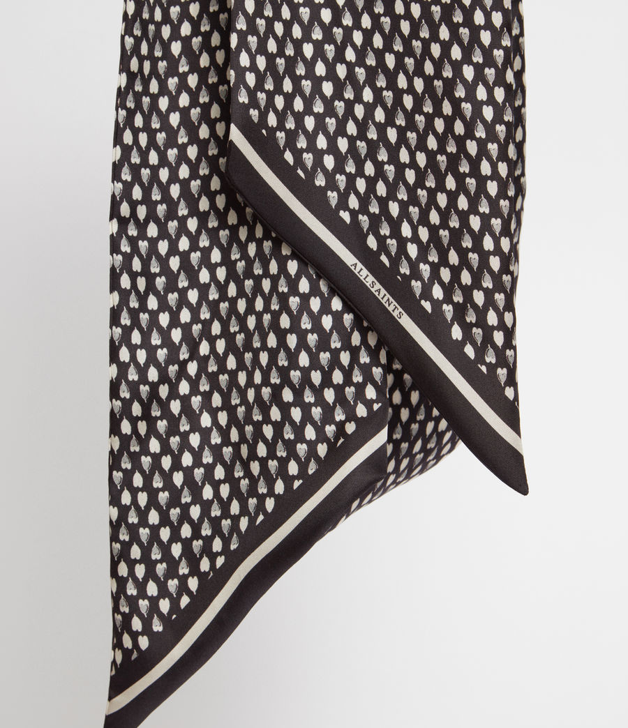 Women's Hearts Silk Skinny Scarf (black) - Image 3