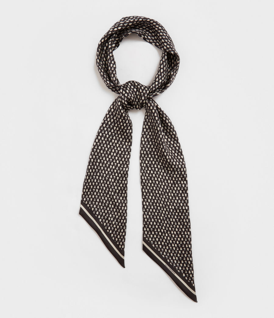 Womens Hearts Silk Skinny Scarf (black) - Image 3