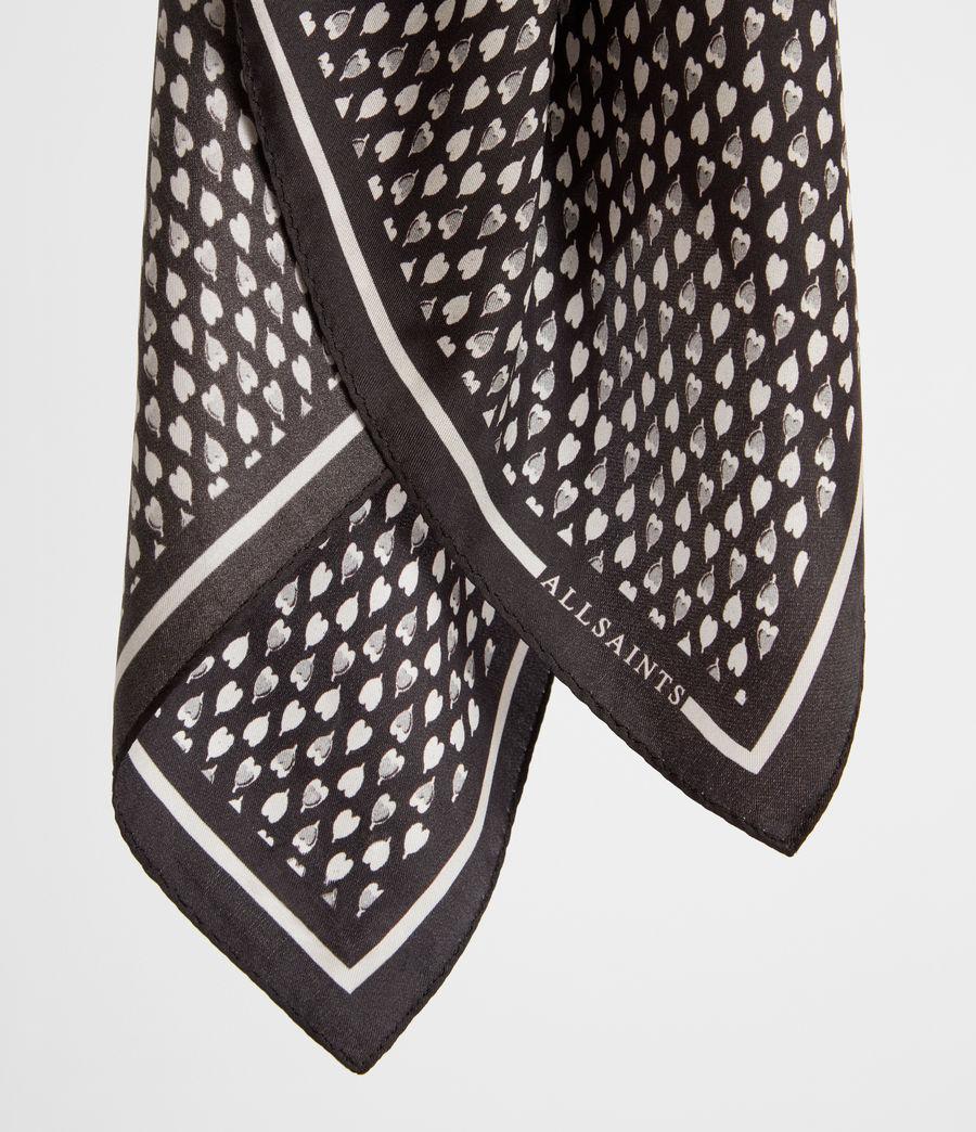 Women's Hearts Silk Bandana (black_white) - Image 2