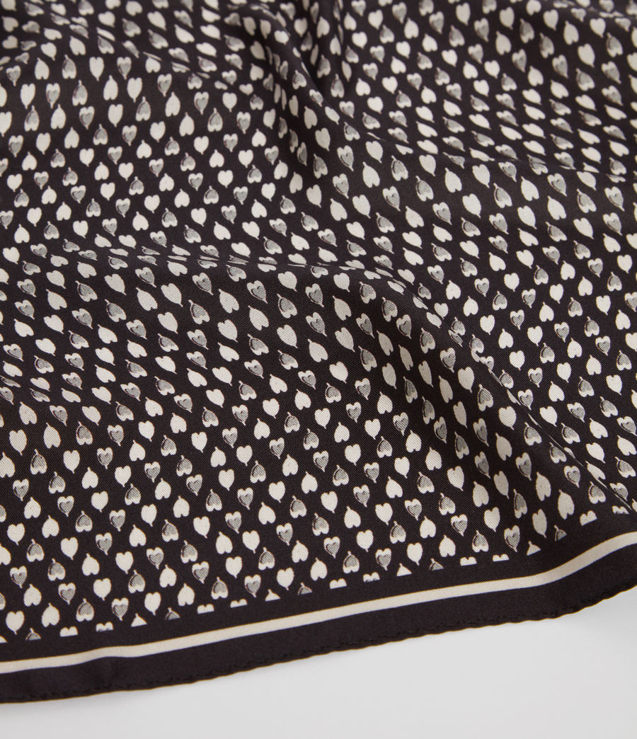 Womens Hearts Silk Bandana (black_white) - Image 3