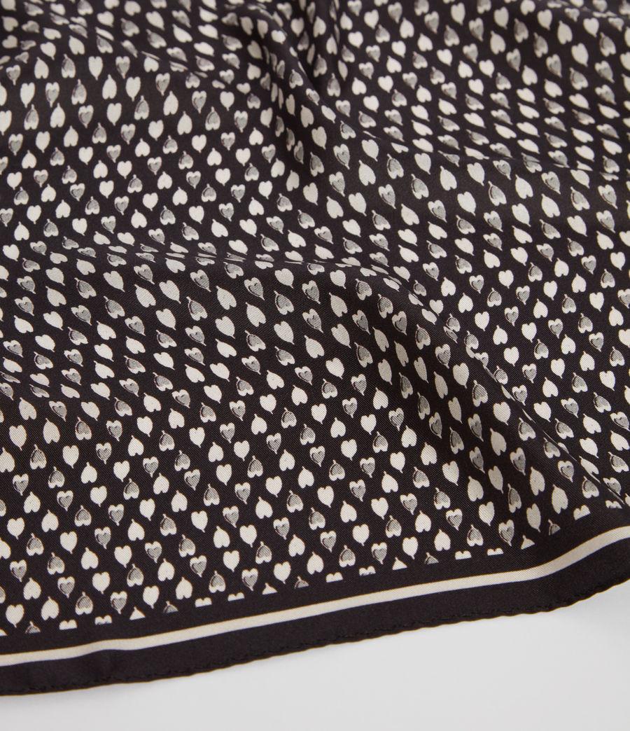 Women's Hearts Silk Bandana (black_white) - Image 3