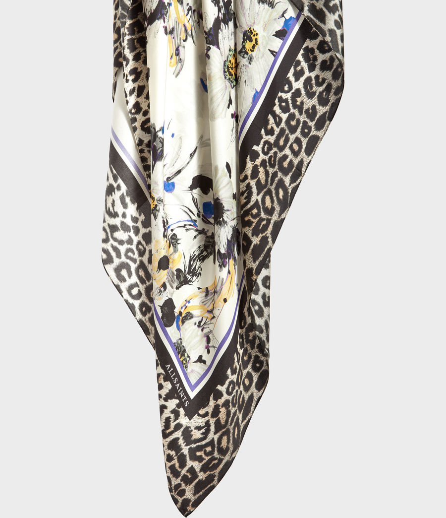 Women's Leppo Fleurier Silk Scarf (black) - Image 2