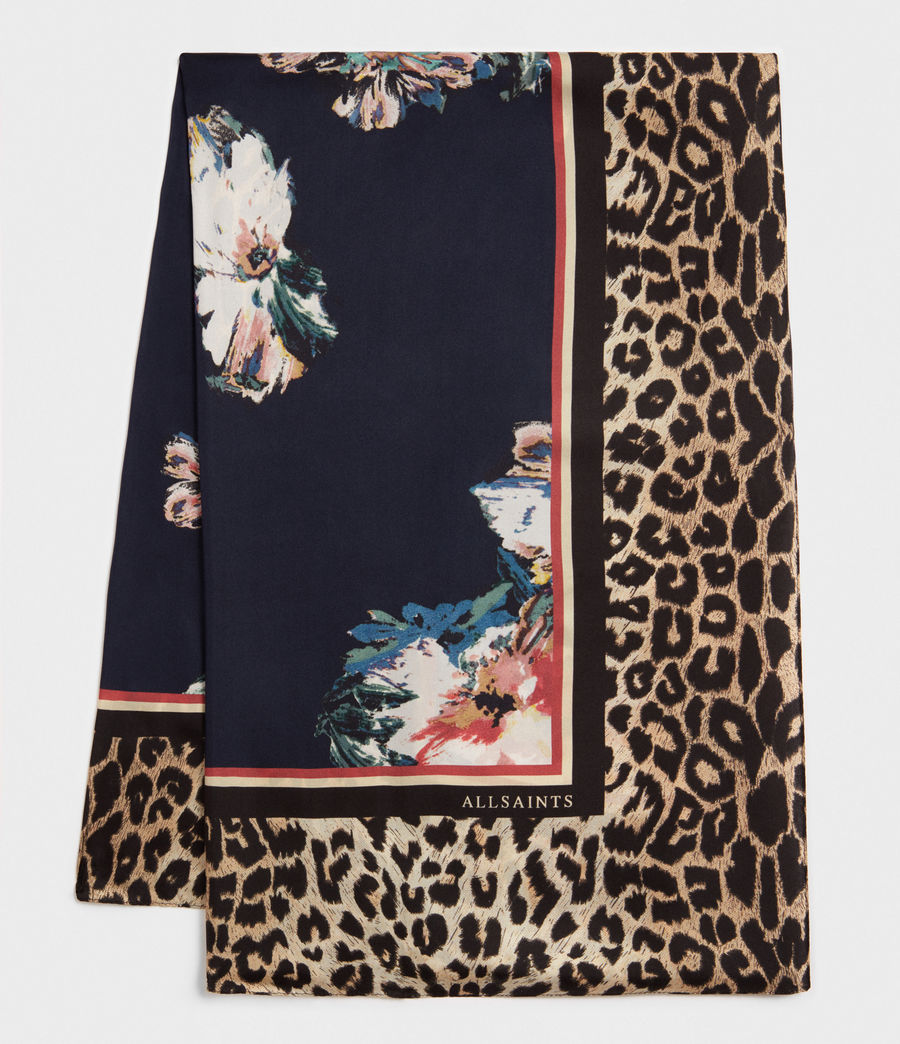 Women's Leppo Violy Silk Scarf (black) - Image 4
