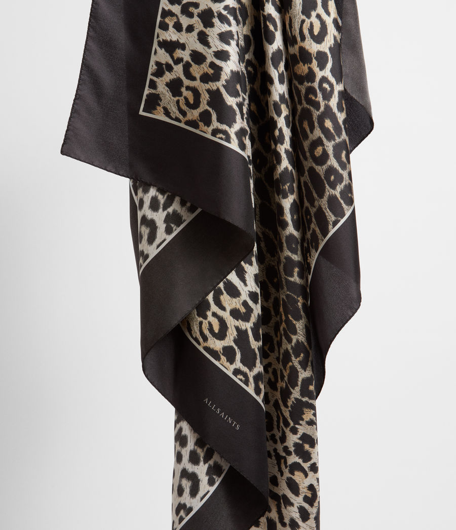 Womens Leppo Silk Scarf (black) - Image 4