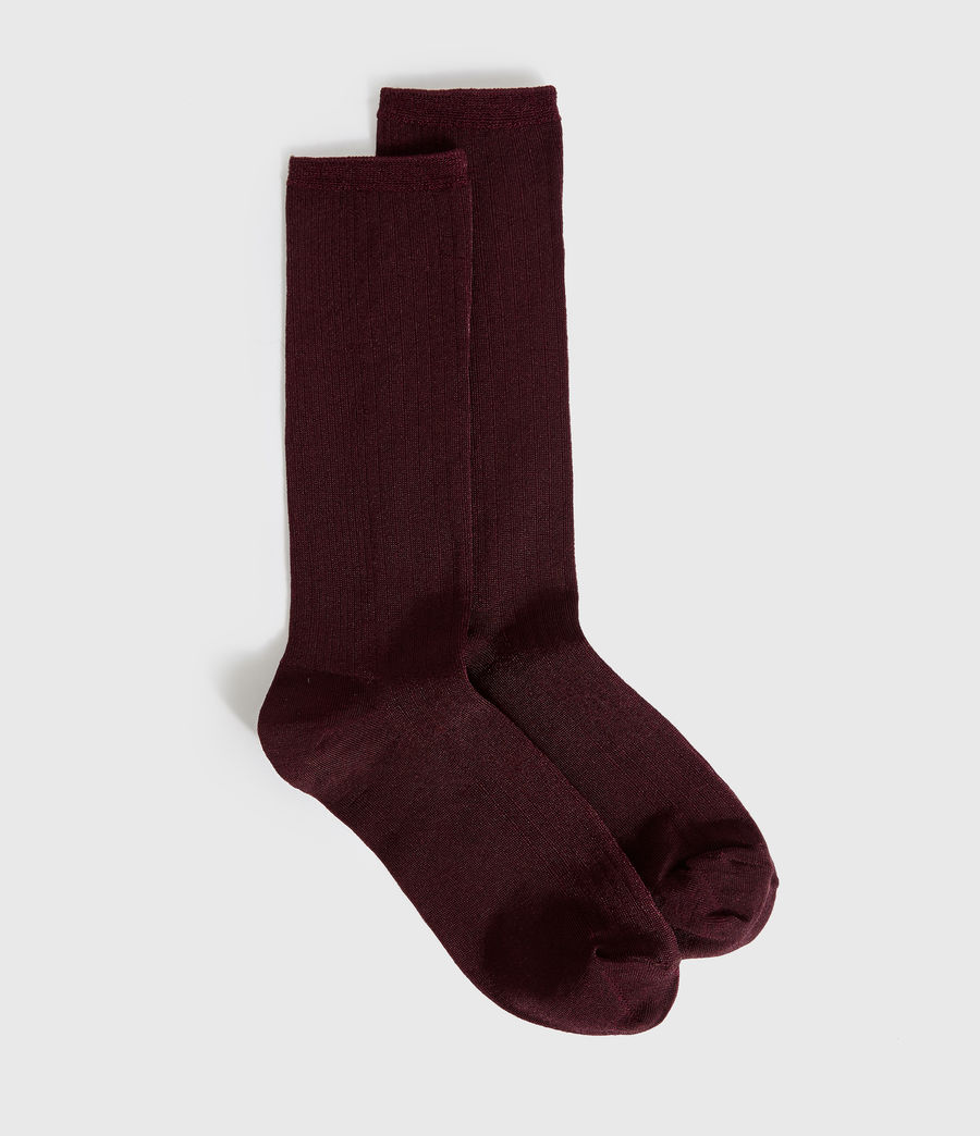 Womens Delta Socks (burgundy_red) - Image 1