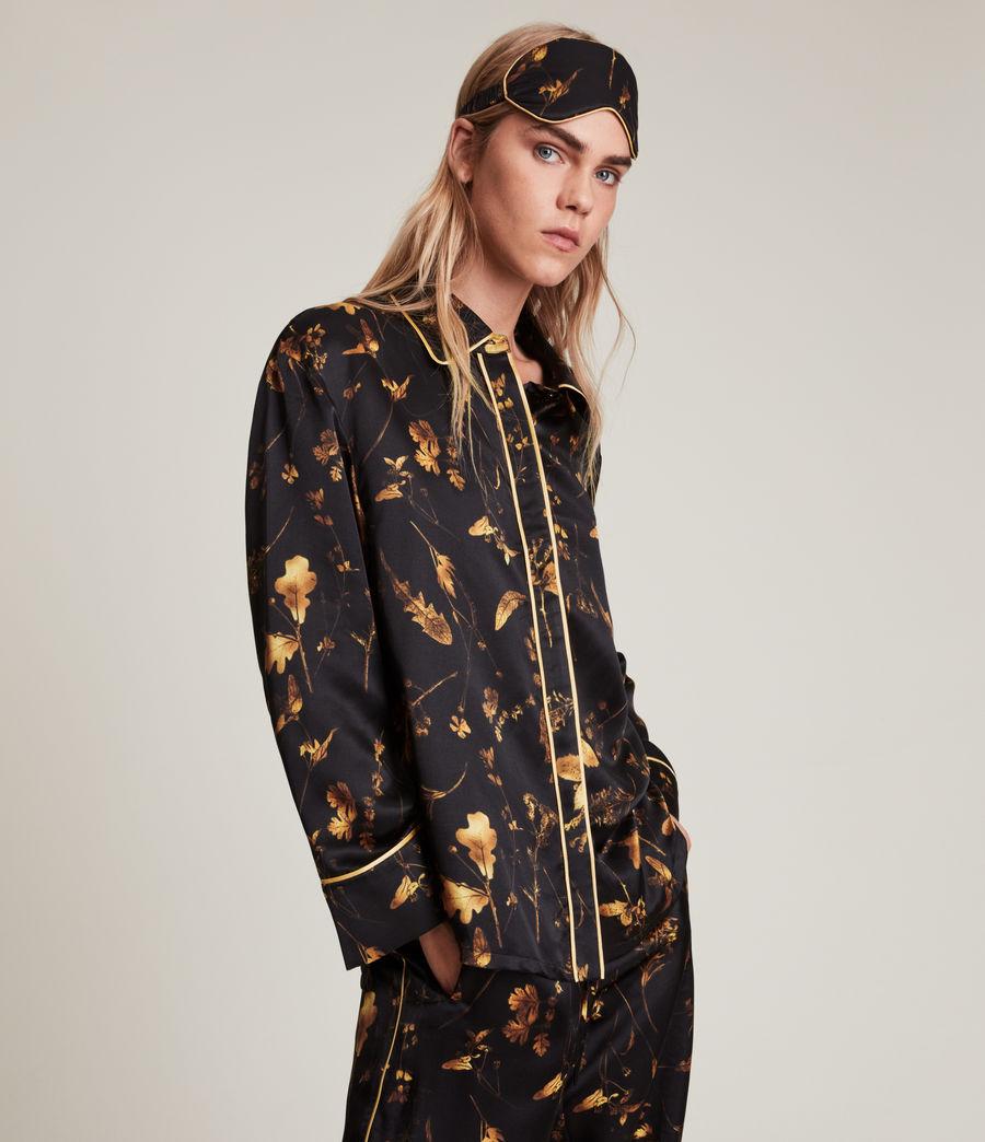 Womens Sofi Heligan Silk Blend Pyjama Top (black_gold) - Image 2